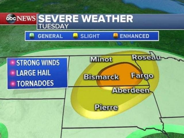 Severe weather, including possible tornadoes, is forecast for the Northern Plains on Tuesday.