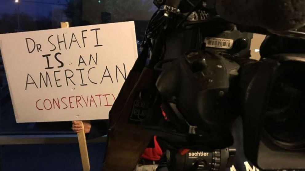 A supporter outside called for Shahid Shafi not to be ousted from the Tarrant County, Texas GOP. A vote was held Thursday, Jan. 10, 2019, and Shafi was not removed, despite a fellow member's calls to do so over him being Muslim.
