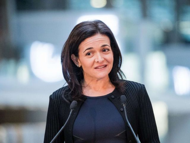 PHOTO: Sheryl Sandberg, chief operating officer of Facebook Inc., speaks during a news conference at Station F, a mega-campus for startups located inside a former freight railway depot, in Paris, Jan. 17, 2017.
