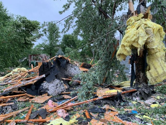 PHOTO: Debris from a violent storm litters a residential area of Sioux Falls, S.D., Sept. 11, 2019.