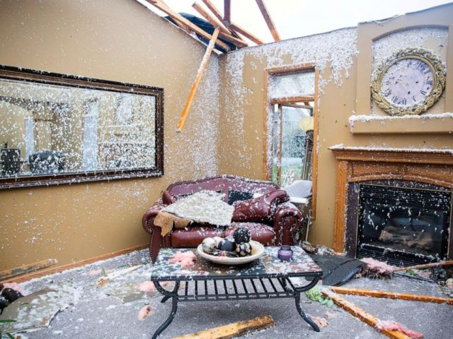 PHOTO: A living room is pictured after a devastating tornado hit in Sioux Falls, Sept. 11, 2019.