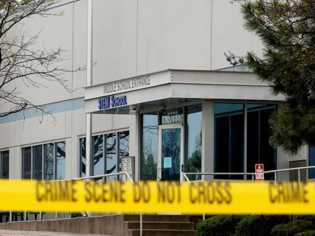 PHOTO: Crime scene tape is seen outside the school following the shooting at the STEM School in Highlands Ranch, Colo., May 8, 2019.