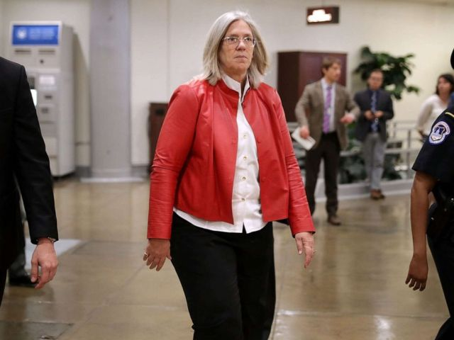PHOTO: Principal Deputy Director of National Intelligence Sue Gordon arrives for a briefing at the U.S. Capitol, May 24, 2018, in Washington.