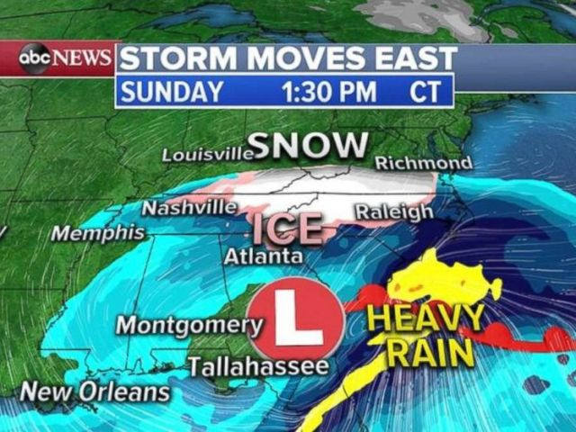 PHOTO: The rain and snow moves into the Southeast on Sunday, with the Appalachians receiving heavy snow in areas.