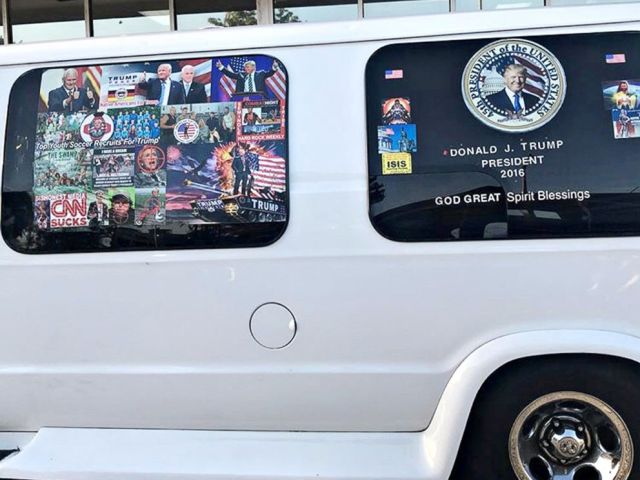 PHOTO: A van with windows covered in pro-Trump and anti-Democrat stickers, which was taken into custody on Oct. 26, 2018, during an investigation into a series of parcel bombs, is seen in Hollywood, Fla. on April 6, 2018.