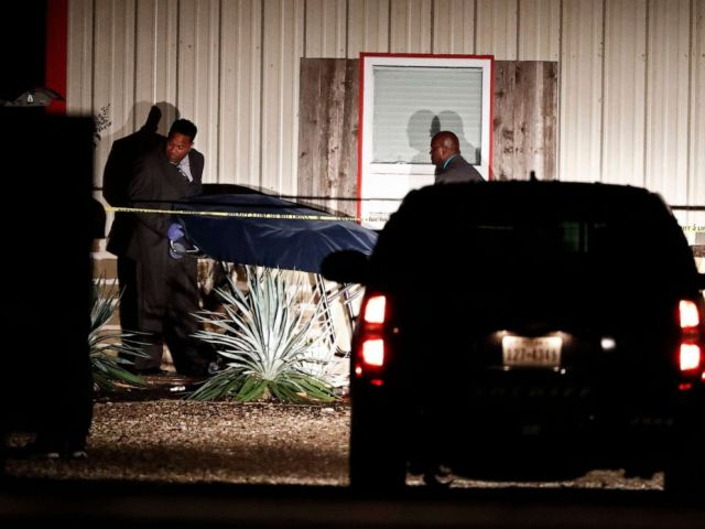 PHOTO: Bodies are removed from the Party Venue after a shooting in Greenville, Texas, Oct. 27, 2019.