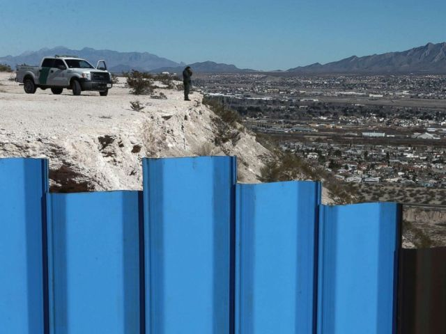 PHOTO: An agent from the border patrol observes near the Mexico-US border fence on the Mexican side separating the towns of Anapra, Mexico and Sunland Park, N.M., Jan. 25, 2017.