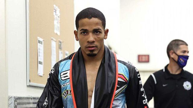 PHOTO: Felix Verdejo walks to the ring before in Las Vegas on July 16, 2020.