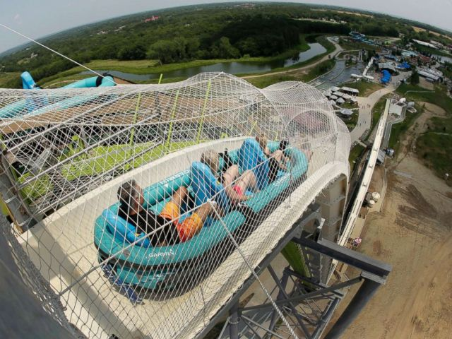 PHOTO: On this July 9, 2014, file photo, riders ride down the water slip known as Verruckt at Schlitterbahn Waterpark in Kansas City, Kan.