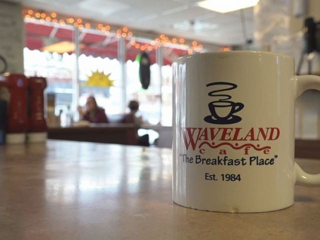 PHOTO: There are no TVs at the Waveland Cafe but inside, there are patrons scrolling on their phones, reading about and watching todays impeachment hearing.