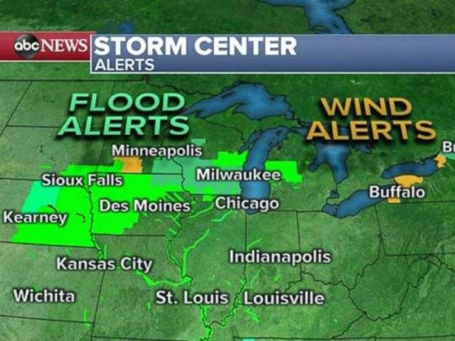 PHOTO: Flood and wind alerts have been issued this morning near several major cities.