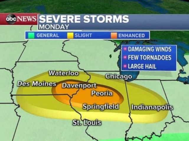 PHOTO: Severe storms are expected over a wide section of the Midwest on Monday.