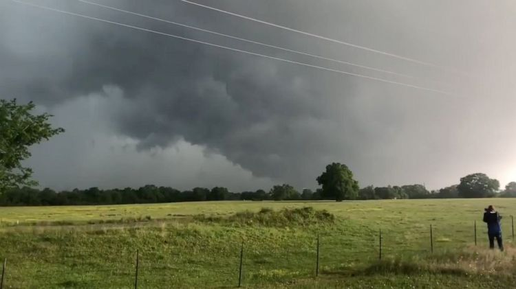A view of clouds, part of a weather system seen from near Franklin, Texas, in this still image from social media video dated April 13, 2019.