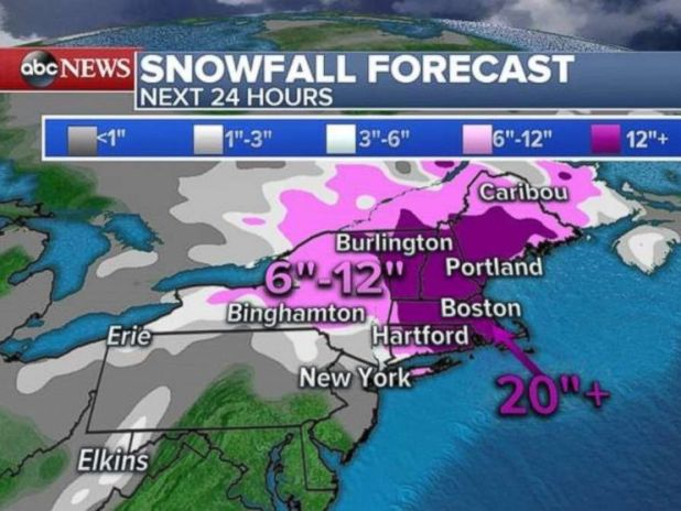 Parts of New England will see 20 inches of snow over the next 24 hours.