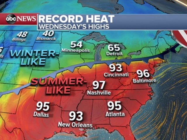 PHOTO: Record Heat - Wednesday Highs