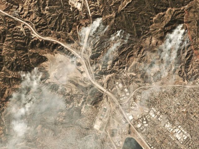 PHOTO: This October 11, 2019, image courtesy of Planet Labs Inc., shows smoke from the Saddleridge Fire about 20 miles north of downtown Los Angeles.