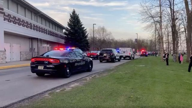PHOTO: Dozens of law enforcement vehicles reported to an active shooter situation at Oneida Casino in Green Bay, Wis., on May 1, 2021.