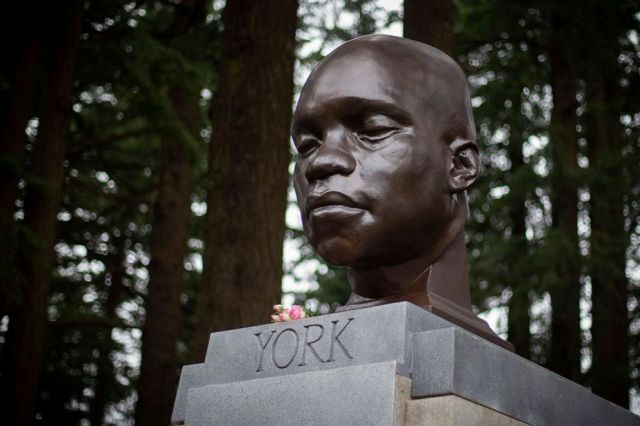PHOTO: A bust of York, a member of the Lewis and Clark expedition, is seen on Mount Tabor in southeast Portland, Ore., Feb. 21, 2021, after it appeared there the day before.