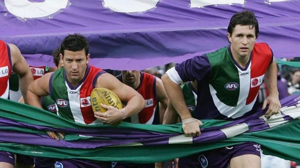 Josh Carr and Justin Longmuir run out as Fremantle teammates for a game in 2006 - AFL,News,Fremantle Dockers,Justin Longmuir