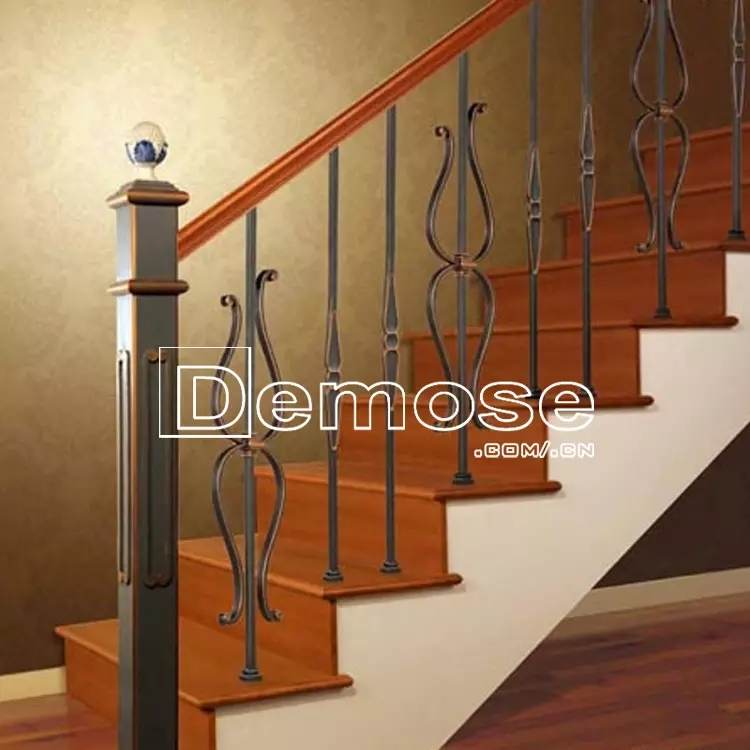 3 Steps Stair Handrail Black Industrial Wrought Iron Stair Railing | Iron Stair Railing Indoor | Cast Iron Balusters | Railing Kits | Interior Wrought | Rod Iron | Wood