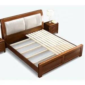 nouveau modele de meubles de chambre a coucher brun durable lit double en bois massif
