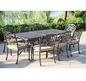 garden metal dining set cast aluminum outdoor furniture