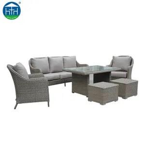 conjunto de sofa de comedor de mimbre mimbre estilo americano patio jardin exterior muebles