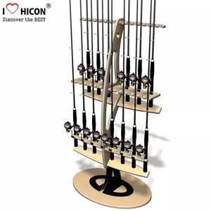 outdoor products retail store advertising 2 layer double sided flooring wooden fishing rod display rack