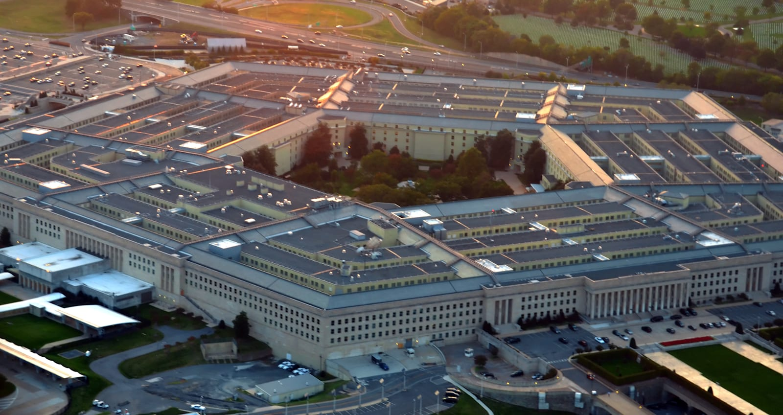 US Pentagon at sunset