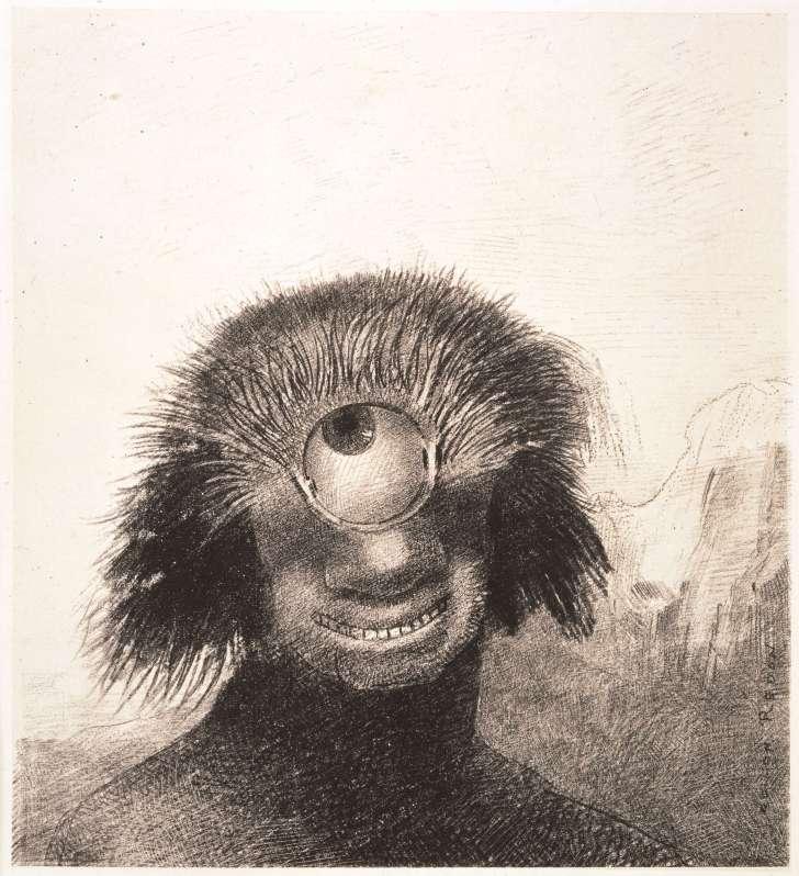 不気味だけどコミカルで、悲しげだったり笑顔だったりと、どこか愛らしいルドンの描く妖怪たち