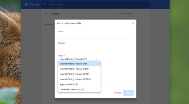 Chrome OS printer dialog box
