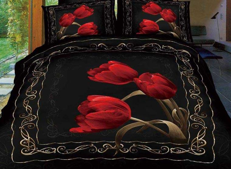 New Arrival Beautiful Red Tulips Print 4 Piece Bedding Sets