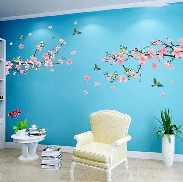 Wonderful Blossom Peach Flowers Living Room Staircase TV