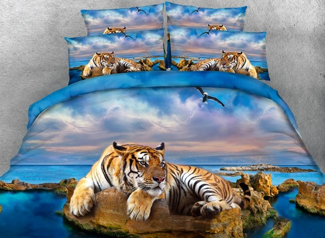 Imperial 3D Tiger Print 5-Piece Comforter Sets
