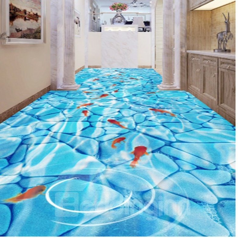 Goldfishes Playing in the Limpid Water Pattern Antiskid and Waterproof 3D Floor Murals