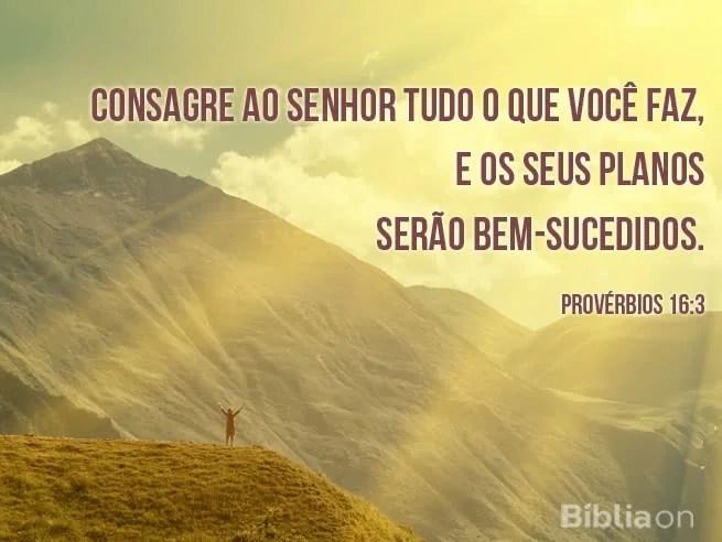 Consagre ao Senhor tudo o que você faz, e os seus planos serão bem-sucedidos. Provérbios 16:3