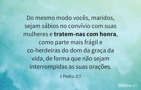 Do mesmo modo vocês, maridos, sejam sábios no convívio com suas mulheres e tratem-nas com honra, como parte mais frágil e co-herdeiras do dom da graça da vida, de forma que não sejam interrompidas as suas orações. 1 Pedro 3:7