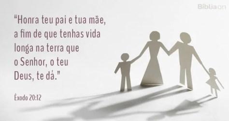 Honra teu pai e tua mãe, a fim de que tenhas vida longa na terra que o Senhor, o teu Deus, te dá. Êxodo 20:12