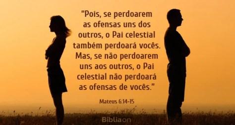 Pois, se perdoarem as ofensas uns dos outros, o Pai celestial também perdoará vocês. Mas, se não perdoarem uns aos outros, o Pai celestial não perdoará as ofensas de vocês. Mateus 6:14-15