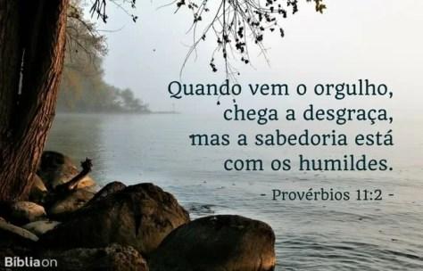 Quando vem o orgulho, chega a desgraça, mas a sabedoria está com os humildes. Provérbios 11:2