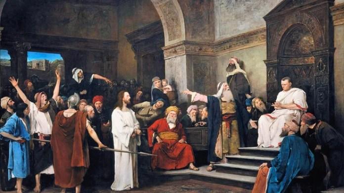 Mihály Munkácsy recrea en 1881Cristo ante Pilato. A pesar de conocer su inocencia, Pilato mantuvo la condena a Jesús, bajo al influencia de los sacerdotes de la ciudad, que le temian al poder del Mesías