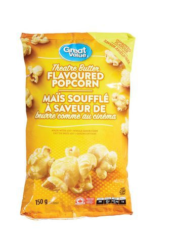 great value theatre butter flavoured popcorn great value 150 g delivery cornershop by uber canada