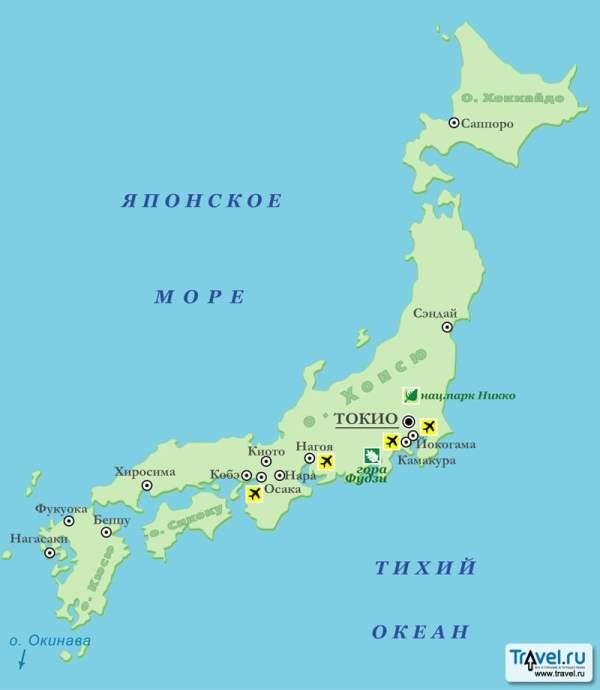 Карта Японии TravelRu Страны Япония Карты