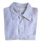 Banana Republic Blue & White Ticking Stripe Linen Oxford Shirt Men's Size Large (L)