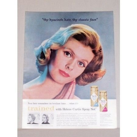 1957 Helene Curtis Spray Net Vintage Color Print Ad Thy