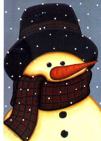 Folk Snowman Winter Christmas Large Flag