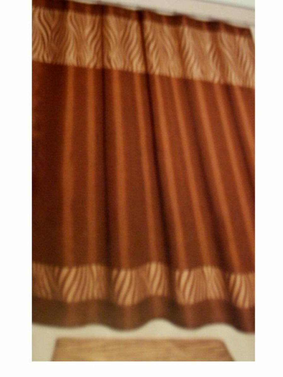 Beige Brown Zebra Stripe Fabric Shower Curtain