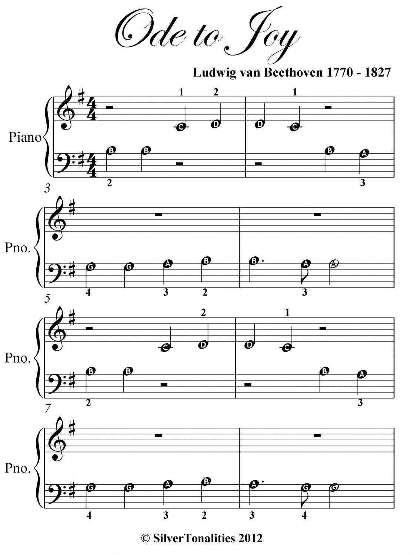 Ode To Joy Beginner Piano Sheet Music