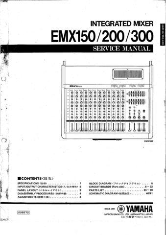 Yamaha Emx150 Emx 150 Mixer Service Manual With Schematics