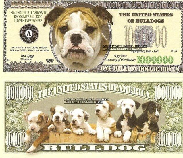 BULLDOG DOG PUPPY ONE MILLION DOLLAR BILLS X 4 NEW GIFT